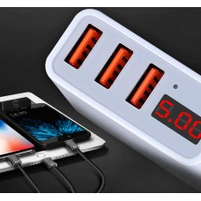 3x quick USB travel charger, max. 3.4A, LED display, OEM CE / FCC