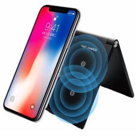 Vertical folding holder dual coils wireless fast charger, CE/ FCC/ ROHS