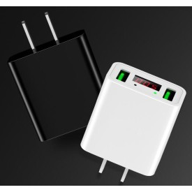 Dual USB LED display 5V /2.2A travel charger, OEM FCC/ CE