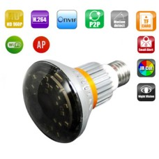 5W Bulb wifi IP network dvr camera, 960P, 25pcs LED,Mirror Cover